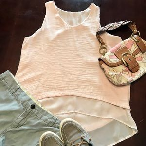 Tops - Blush High Low Double Layered Tank